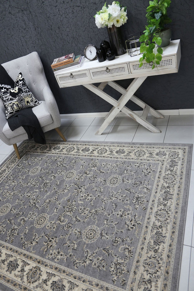 Arya Grey and Cream Traditional Boarder Rug