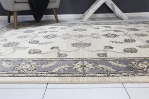 Arya Cream and Grey Traditional Rug