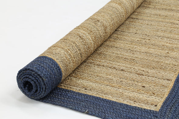 Hampton Navy Blue Border Jute Rug