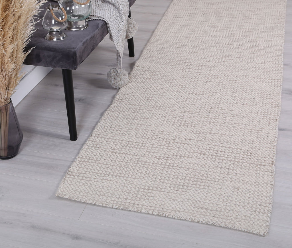Scandi Beige Reversible Wool Runner Rug
