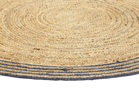 Capri Grey Natural Round Boarder Rug