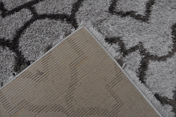 Ocean Light Grey Shag Shape Patterned Ikat Rug