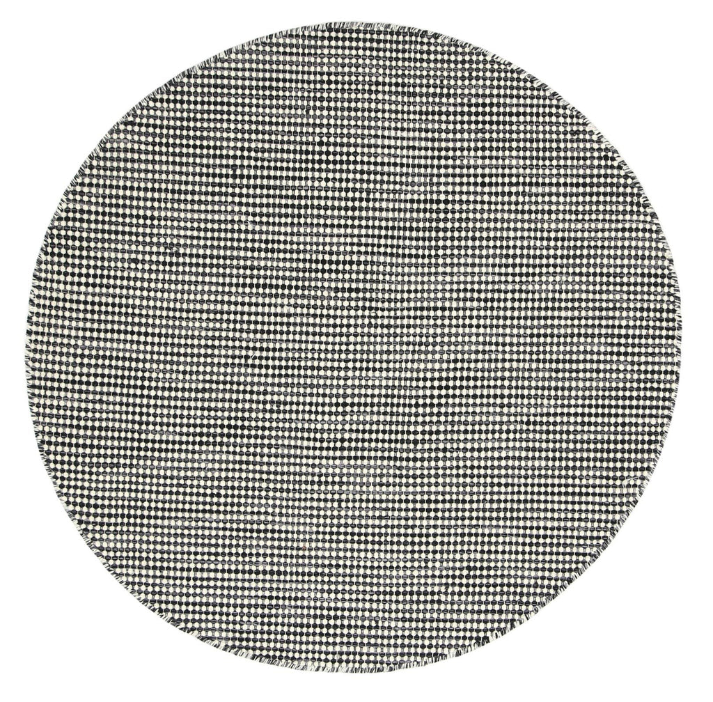 Scandi Charcoal Reversible Wool Round Rug