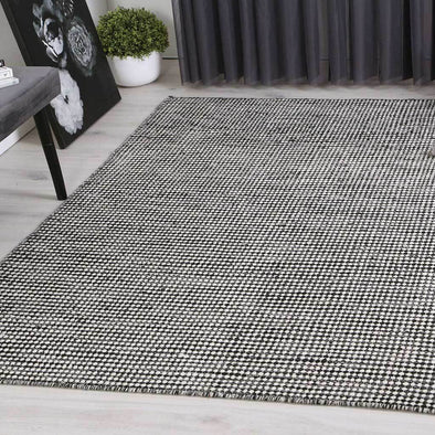 Scandi Charcoal Reversible Wool Rug