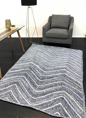 Artisan Blue Natural Chevron Rug