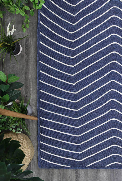 Bonnie Navy Blue Natural Chevron Rug