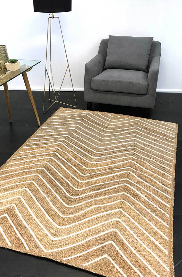 Bonnie Beige Natural Chevron Rug