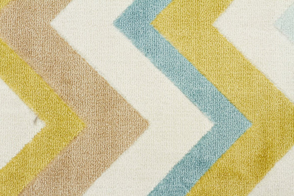 City Stunning Chevron Design Rug Green Brown Cream