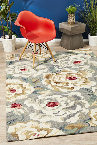 Copacabana Gorgeous Peony Grey Indoor Outdoor Rug