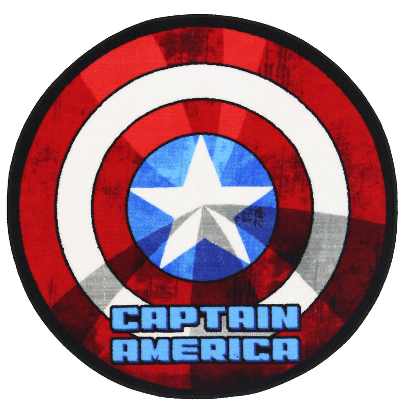 Non Slip Red Kids Marvel Captain America Shield Circle Area Rug Baby Play Mat 100x100