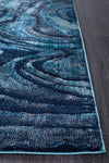 Dreamscape Waves Modern Indigo Runner Rug