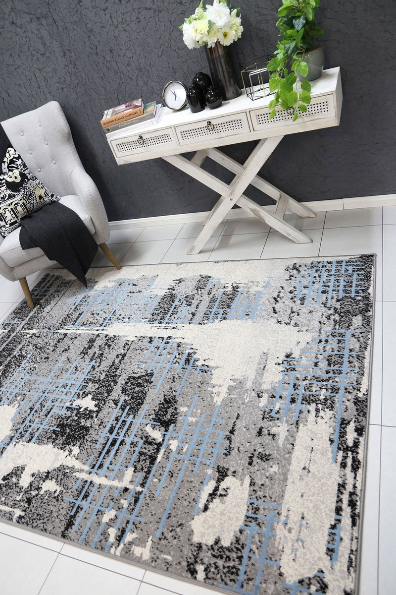 Dash Grey and Blue Modern Urban Distressed Rug