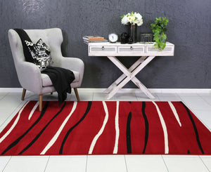 Dash Red Modern Abstract Stripes Rug