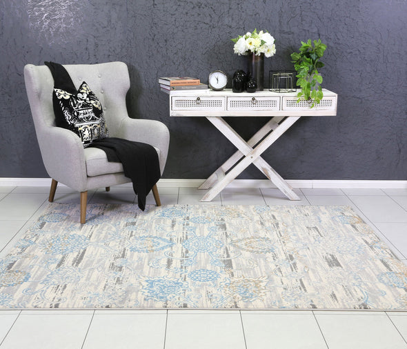 Dash Grey and Blue Transitional Rug