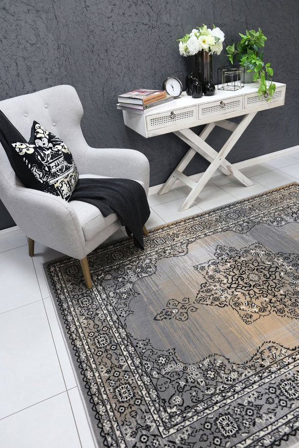 Dash Beige and Grey Transitional Medallion Rug