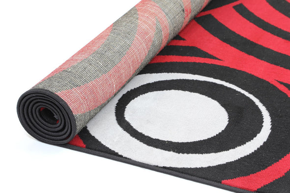 Dash Red and Black Modern Circles Rug