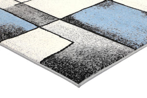Dash Blue and Grey Modern Squares Rug