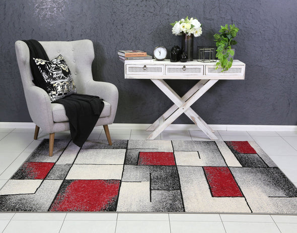 Dash Red and Grey Modern Squares Rug