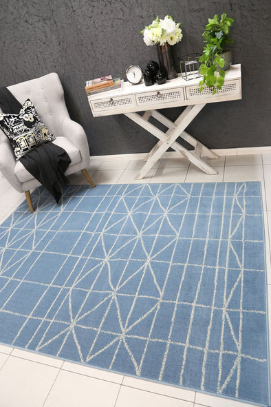 Dash Light Blue Modern Moroccan Rug
