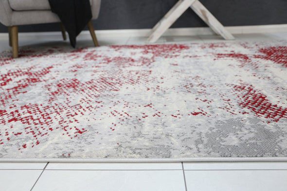 Dash Red Modern Abstract Rug