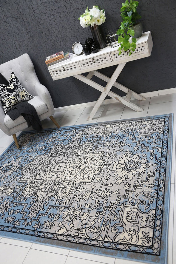 Dash Grey and Blue Distressed Vintage Rug