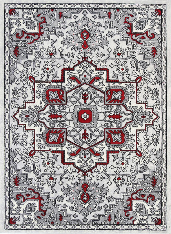 Dash Red and Gray Distressed Vintage Rug