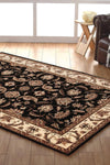 Empire Collection Stunning Formal Floral Design Black Rug