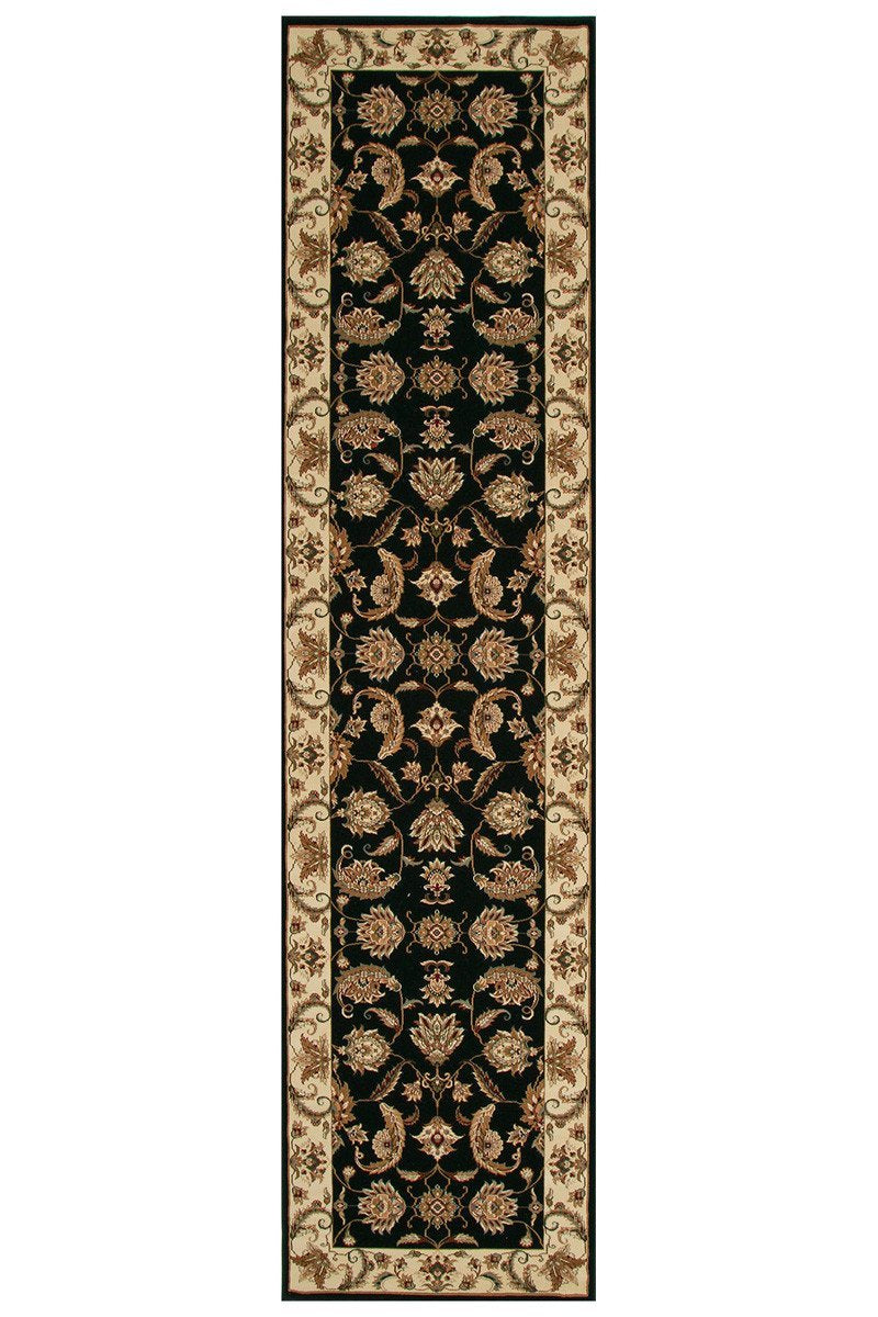 Empire Stunning Formal Floral Design Runner Rug Black