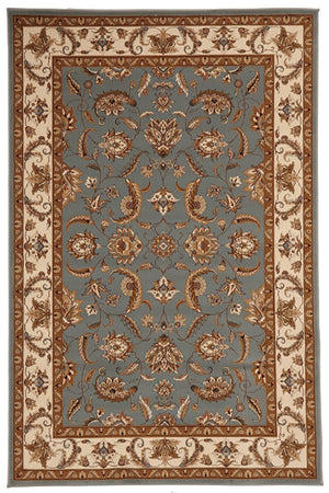 Empire Collection Stunning Formal Floral Design Blue Rug