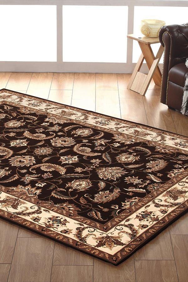 Empire Collection Stunning Formal Floral Design Brown Rug