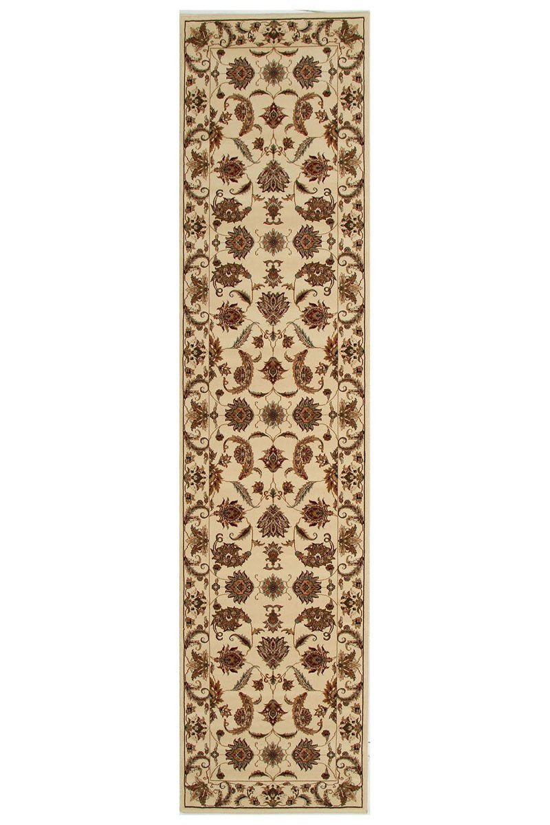 Empire Stunning Formal Floral Design Runner Rug Cream
