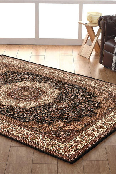 Empire Collection Stunning Formal Medallion Design Black Rug