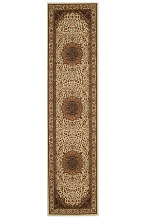 Empire Stunning Formal Medallion Design Runner Rug Cream