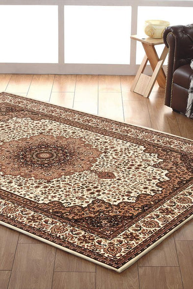 Empire Collection Stunning Formal Medallion Design Cream Rug