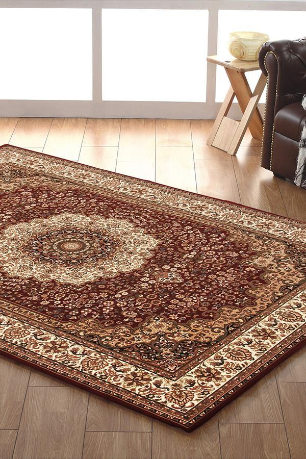 Empire Collection Stunning Formal Medallion Design Red Rug