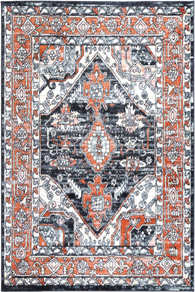Fortune Traditional Terracotta Black Rug