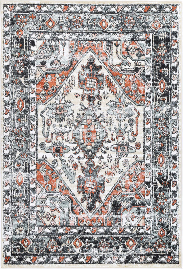 Fortune Traditional Beige Black Rug