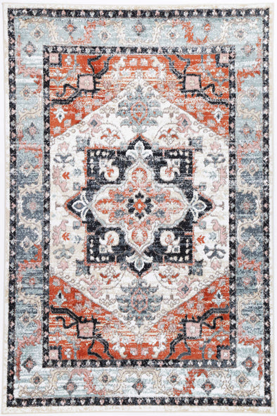 Fortune Traditional Terracotta Charcoal Rug