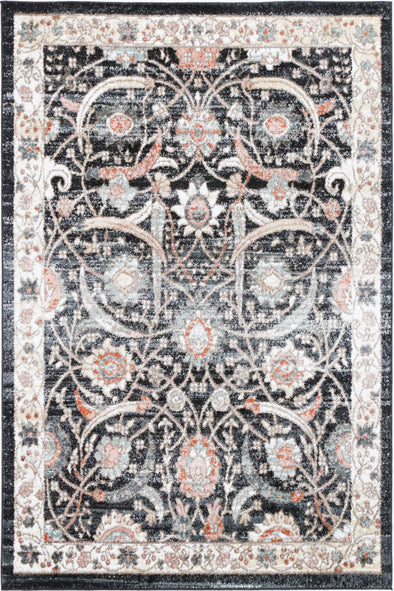 Fortune Traditional Charcoal Cream  Rug