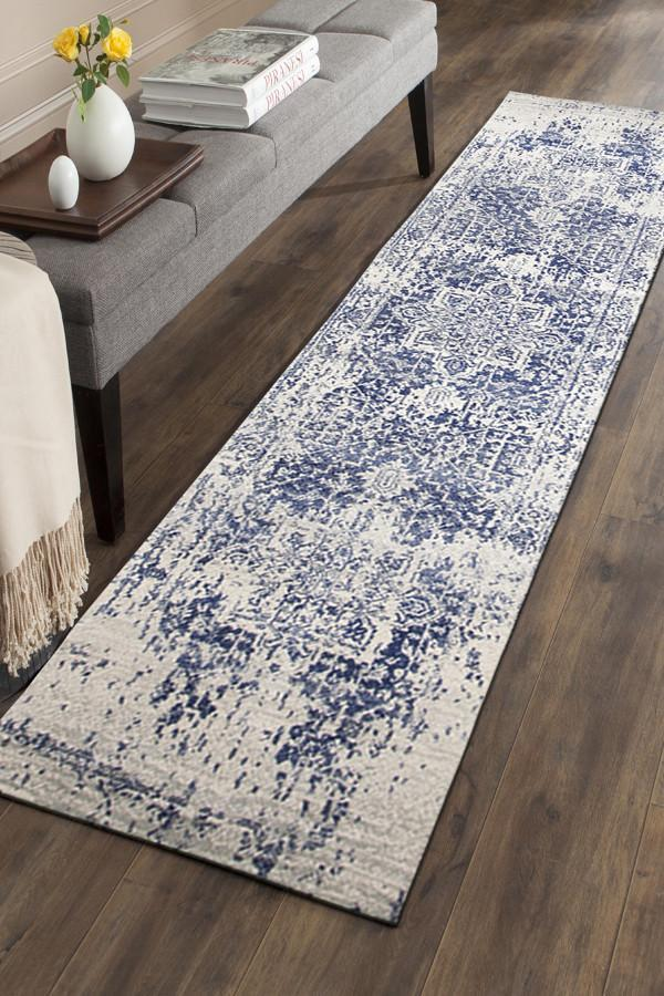 Evoke Horizon White Navy Transitional Runner Rug