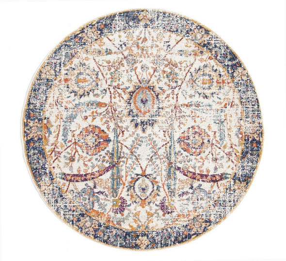 Evoke Peacock Ivory Transitional Round Rug