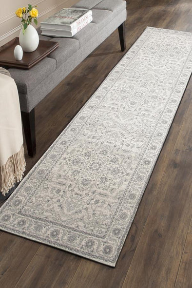 Evoke Winter White Transitional Runner Rug