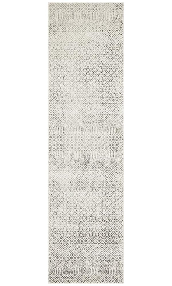 Evoke Diamond Grey Transitional Runner Rug