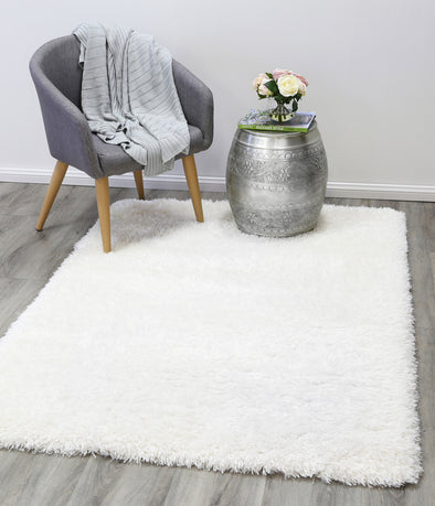 Cushy Super Soft Ultra Thick Shag Rug White