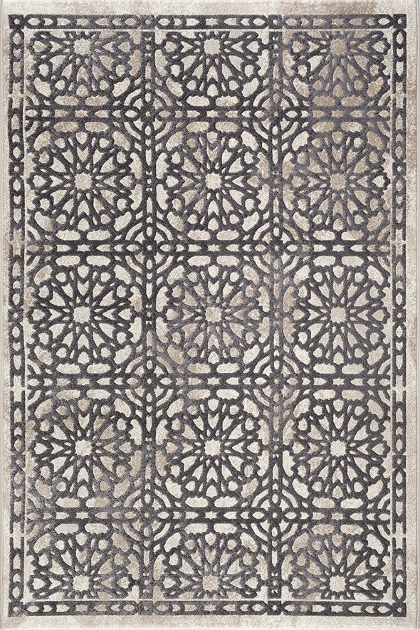 Felicity Grey and Cream Geometric Ikat Rug