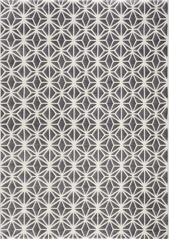 Felicity Grey Geometric Diamond Ikat Rug