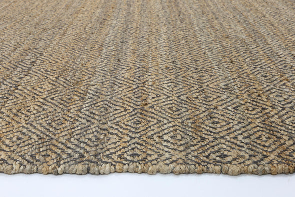 Oslo Grey Jute Diamonds Flat Weave Rug