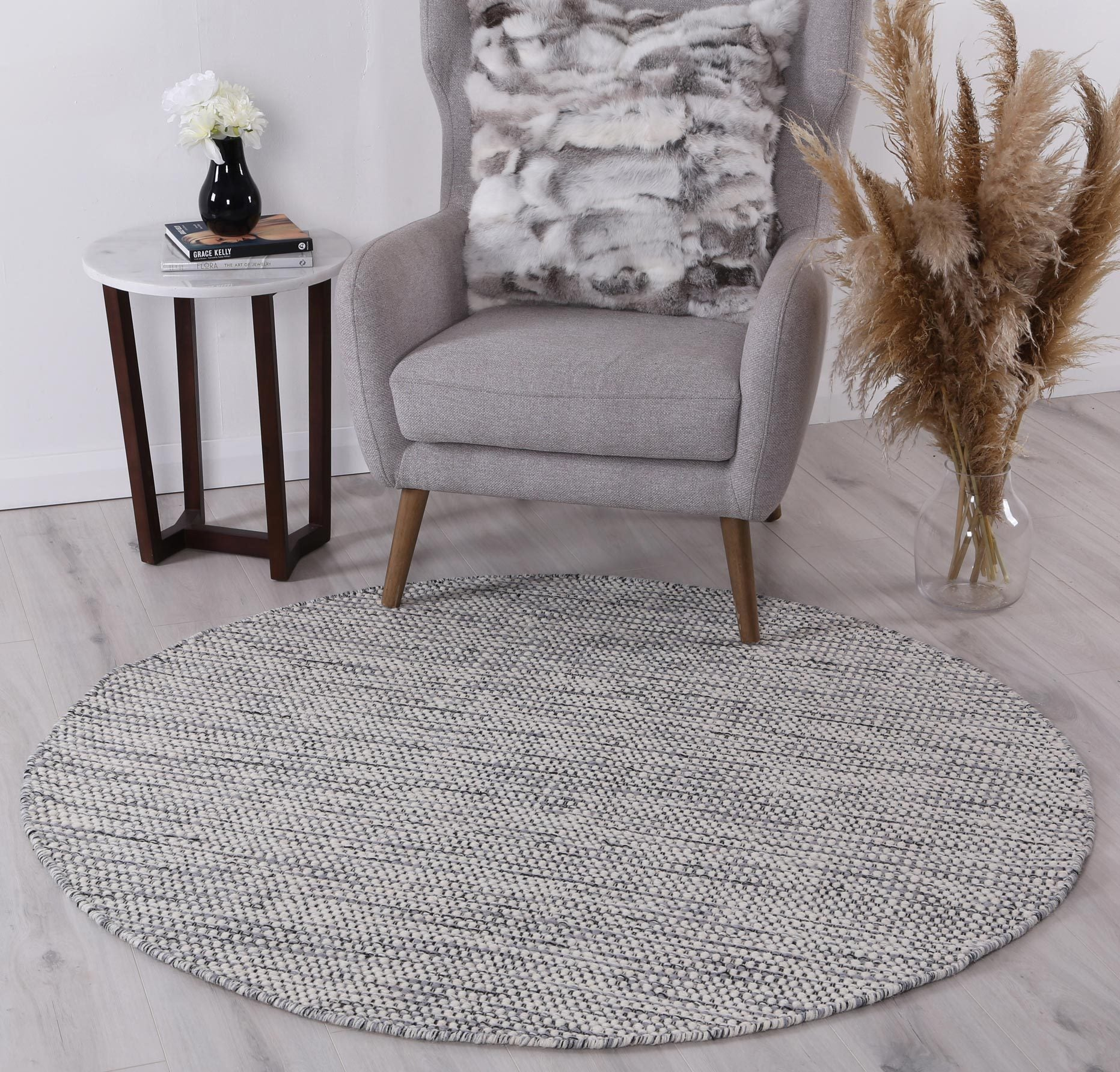 Scandi Grey Reversible Wool Round Rug Rugs A Million