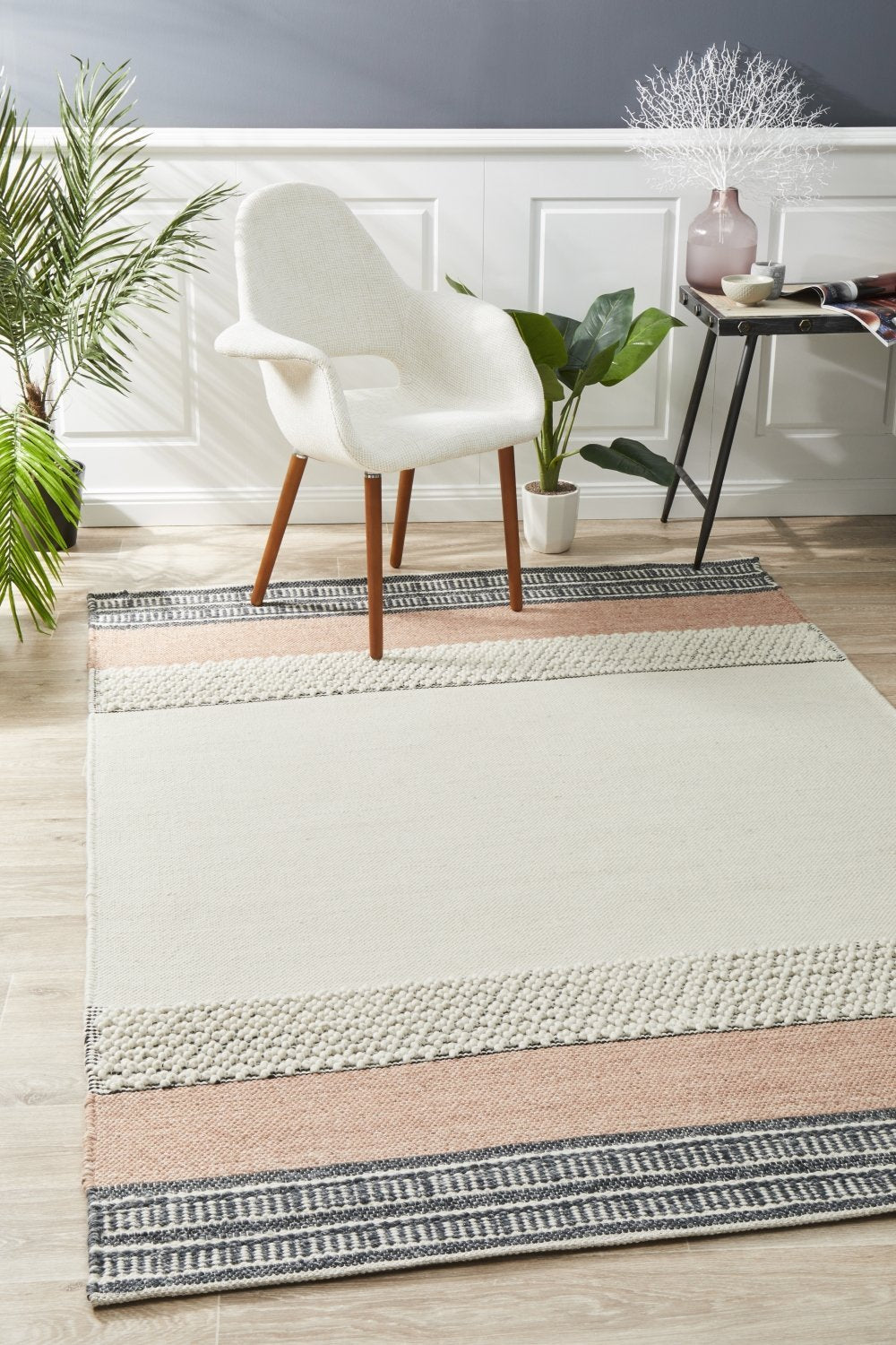 Esha Textured Woven Rug White Peach