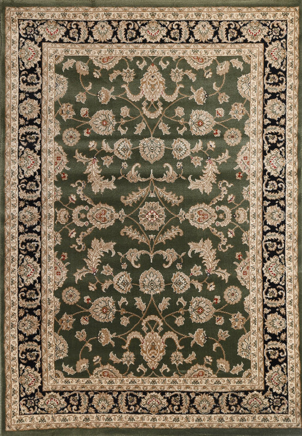 Ornate Green Traditional Bordered Ikat Rug